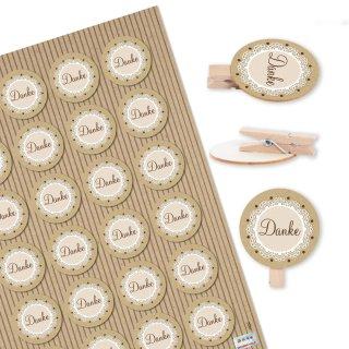 24 Danke Aufkleber + 24 Holzklammern mit runder Holzscheibe Natur beige braun Dankeschön Sticker