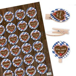 24 Aufkleber bayerische Sprüche + 24 Holzklammern mit runder Scheibe Bayern Oktoberfest Deko Set blau weiß
