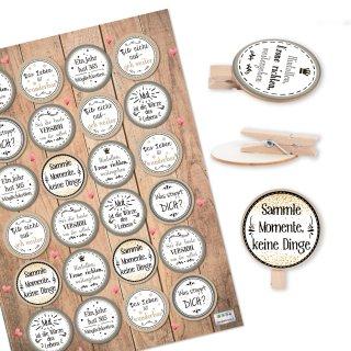 24 Aufkleber mit Sprüchen Motivation + 24 Holzwäscheklammern - Motivationsaufkleber Belohnung Mut machen - beige grau