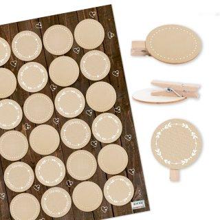 24 Dekoklammern aus Holz mit blanko Aufklebern beige creme zum Beschriften - Deko Namensschild Hochzeit