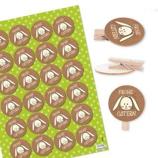 24 Osterklammern aus Holz mit Aufleber Frohe Ostern - Osterhase Verzierung Verpackung braun weiß