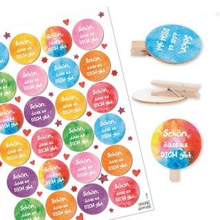 24 Schön dass es dich gibt Aufkleber bunt + 24 runde Holzklammern mit Holzscheibe Geschenkverpackung Clips