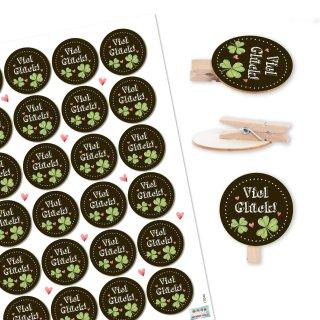 24 VIEL GLÜCK Aufkleber + 24 Holzklammern mit runder Scheibe - Glücksbringer schwarz weiß grün - Geschenk Prüfung