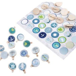 Set 35 Sticker blau grün mit christlichen Symbolen + 36 Holzklammern 3,2 cm - Tischdeko Geschenk Deko Taufe Kommunion