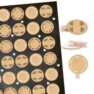 35 Etiketten in Kraftpapier-Optik braun mit Holzklammern 3,2 cm natur - DIY Dekoklammern Bastelzubehör beschreibbar