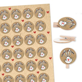 35 Mini Holzklammern + Osteraufkleber mit Osterhase Frohe Ostern - Osterdeko Verzierung Osterverpackung