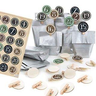 24 Adventskalendertüten silber zum Befüllen für DIY Adventskalender mit Zahlenklammern 1-24 Vintage braun grün