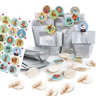 24 Adventskalendertüten zum Befüllen in silber mit bunten Adventskalender Zahlenklammern 1-24 Tiere für Kinder