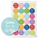 Buntes Aufkleber Set - 120 Sticker Sprüche + Blumen + Blankoaufkleber zum Beschriften