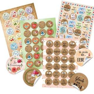 Aufkleber Set 4 x 24 Sticker - Sprüche gute Gedanken Liebe - Geschenkaufkleber Corona-Zeit - Briefe verzieren