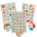 Aufkleber Set 3 x 24 bunte Sticker - rund, 4 cm -...