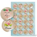 Aufkleber Set 3 x 24 bunte Sticker - rund, 4 cm - Schön dass es dich gibt - Sprüche Motivation Briefaufkleber
