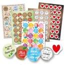 Sticker SET - 131 bunte Geschenkaufkleber zu Liebe...