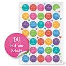 Buntes Aufkleber SET - 131 Sticker DANKE + Schön, dass du da bist + Sprüche - Geschenkaufkleber