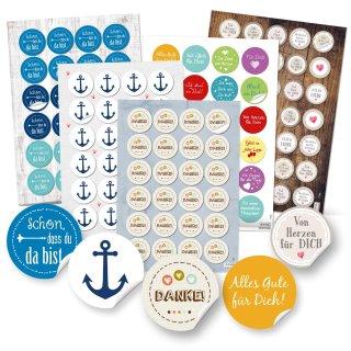 Buntes Aufkleber Set 131 Sticker - Danke + Anker + Sprüche Glückwunsch Motivation Liebe Freundschaft