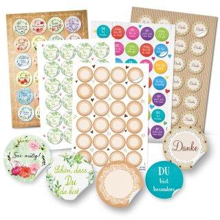 Aufkleber Set 131 Sticker DANKE + SCHÖN DASS DU DA BIST + Blanko + Sprüche Blumensprache Motviation