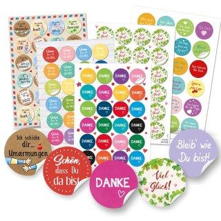 Buntes Sticker Set Mix - DANKE + VIEL GLÜCK + Sprüche Aufkleber - Verzierung Geschenke Verpackung