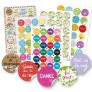 Buntes Sticker Set Mix - DANKE + VIEL GLÜCK +...