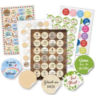 Deko Aufkleber Set - 131 Sticker zu den Themen Motivation Kraft Liebe Freude