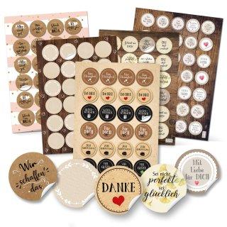 Geschenkaufkleber SET - Aufkleber Mix zum Basteln und Verzieren von DIY Verpackungen - beige braun Vintage