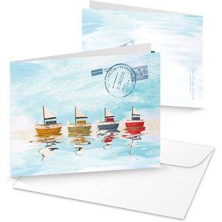 3 maritime Grußkarten mit bunten Schiffen - Klappkarte blau türkis mit Kuvert