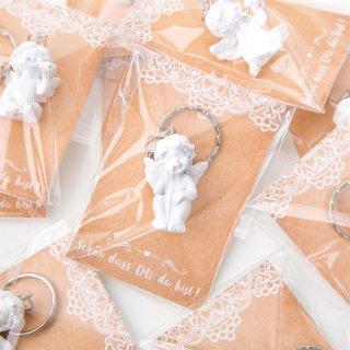 10 give aways - weiße Schlüsselanhänger Schutzengel + weiß braune Schön dass du da bist Karten