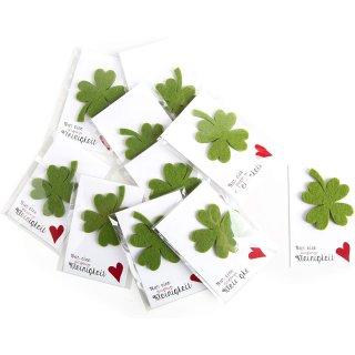 10 grüne Glückskleeblätter & Nur eine klitzekleine Kleinigkeit Kärtchen - kleine give aways