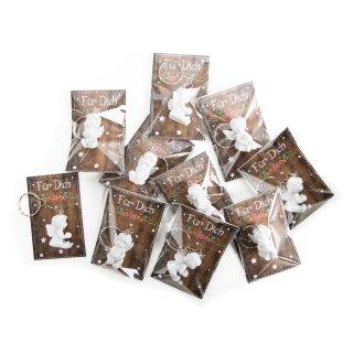 10 kleine weiße Schlüsselanhänger Engel + Karte in Holzoptik Für Dich - Mini Geschenk