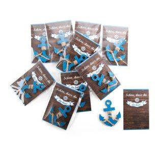 10 kleine Gastgeschenke - blaue Holzanker + kleine rustikale Kärtchen Schön dass du da bist