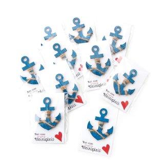 10 kleine maritime Geschenke - blau türkise Holzanker + Karte Nur eine klitzekleine Kleinigkeit