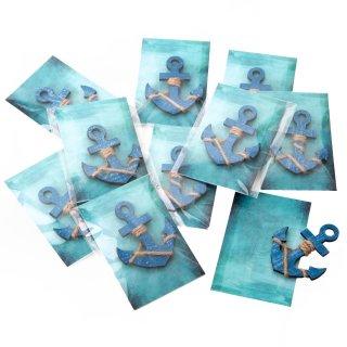 Maritime Mitgebsel - 10 blaue Holzanker & türkise Kärtchen - kleine Mitgebsel