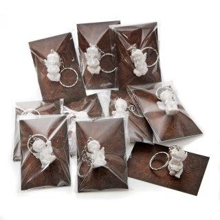 Mini Gastgeschenke - weiße Engel Schlüsselanhänger + Schmuckkarte in Lederoptik - 10 Stück