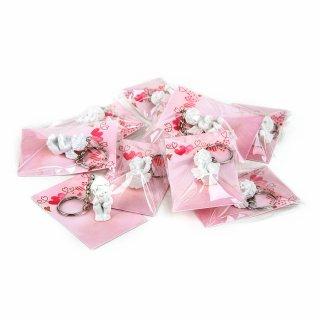 10 weiße Schlüsselanhänger Schutzengel + rosa Schmuckkärtchen - kleine Gastgeschenke