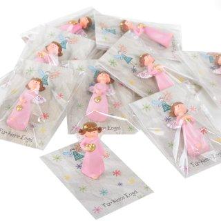 10 Gastgeschenke - rosa goldener Engel + grau bunte Karte Für kleine Engel