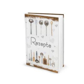 Kleines Rezeptbuch REZEPTE zum Selberschreiben weiß grau Shabby Chic mit Herzen
