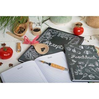 Rezeptbuch zum Selberschreiben DIN A4 Tafelkreide-Look schwarz weiß Gemüse - Geschenk Vegetarier
