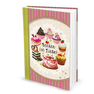Backbuch A4 zum Selberschreiben mit leeren Seiten DIN A4 BACKEN IST LIEBE rosa beige
