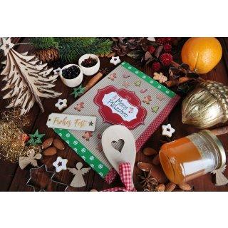 Leeres A5 Weihnachtsplätzchen Backbuch MEINE PLÄTZCHEN braun rot grün - Rezeptbuch weihnachtlich