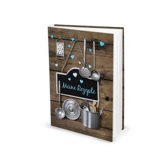 Kleines Kochbuch zum Selberschreiben Meine Rezepte braun türkis DIN A5 Hardcover