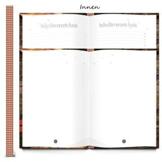 DIY Rezeptbuch REZEPTE AUS UNSERER FAMILIE braun rot DIN A4 - Familienrezepte aufschreiben