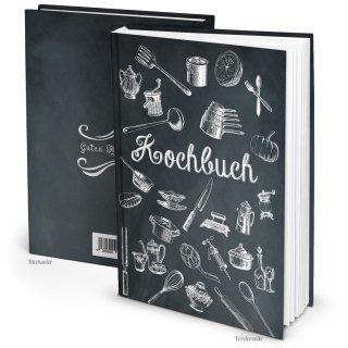 Kleines DIY Rezeptbuch mit leeren Seiten DIN A5 schwarz weiß Tafelkreide-Stil