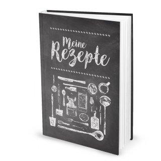 XXL Rezeptbuch zum Selberschreiben MEINE REZEPTE in DIN A4 - Notizbuch für die Küche schwarz weiß