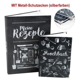 Rezeptbücher Set - 2 leere Kochbücher zum Selberschreiben A4 + A5 schwarz weiß