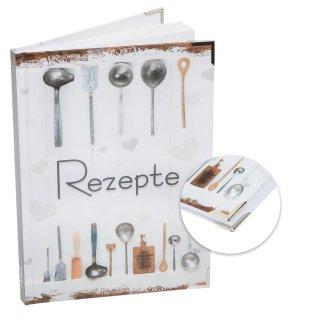 Kleines Rezeptbuch REZEPTE zum Selberschreiben weiß grau Shabby Chic mit Metallecken