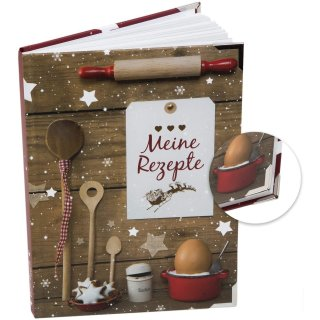 DIN A5 Rezeptbuch MEINE REZEPTE mit leeren Seiten für Weihnachtsplätzchen - mit Metallecken