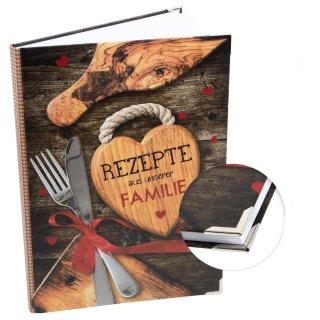 DIY Rezeptbuch REZEPTE AUS UNSERER FAMILIE braun rot DIN A4 mit Metallecken - Familienrezepte aufschreiben