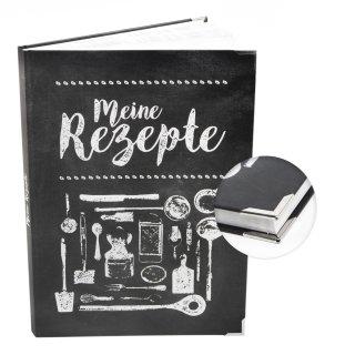 XXL Rezeptbuch zum Selberschreiben MEINE REZEPTE in DIN A4 - Notizbuch für die Küche schwarz weiß mit Metallecken
