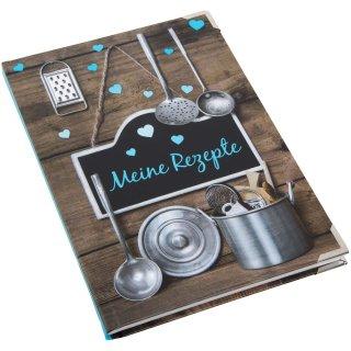 Kleines Kochbuch zum Selberschreiben Meine Rezepte braun türkis DIN A5 Hardcover mit Metallecken