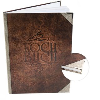 Großes Rezeptbuch in Lederoptik braun - leeres Kochbuch DIN A4 im Vintage Nostalgie Look mit Metallecken