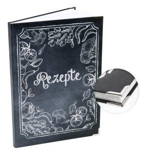 Leeres REZEPTE Buch für eigene Kochrezepte DIN A4 - Tafelkreide Look mit Gemüse